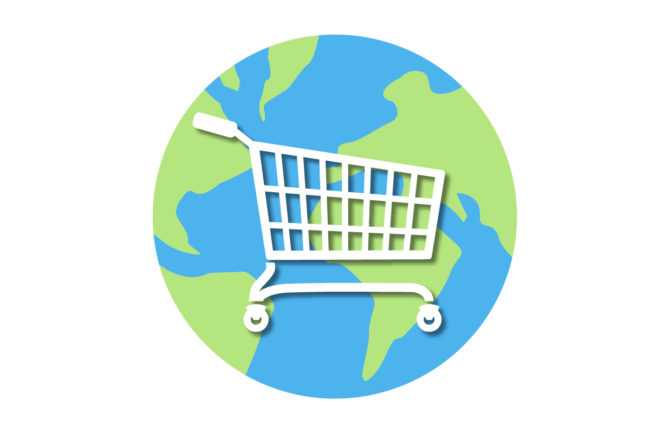 Earth with shopping cart in middle (©STOCKR - STOCK.ADOBE.COM)