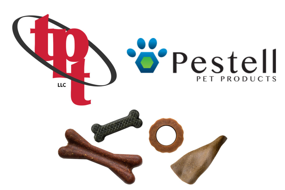 Targeted Pet Treats (TPT) logo and dog bones, Pestell Pet Products logo