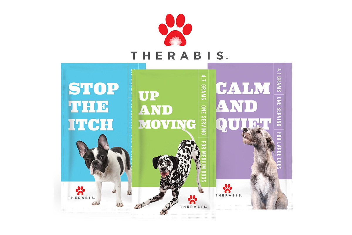"Therabis pet wellness supplements, ""Stop the itch,"" ""Up and moving"" and ""Calm and quiet."""
