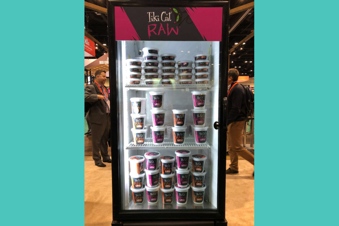 Tiki Cat Raw products in freezer at Global Pet Expo 2019