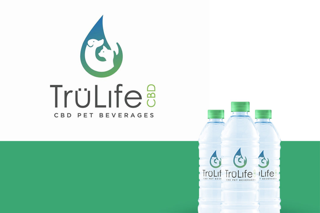 TruLife CBD logo and pet beverage in water bottles