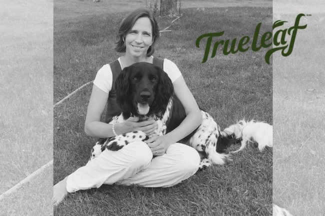 Conny Mosley, DVM, with her dog and True Leaf logo