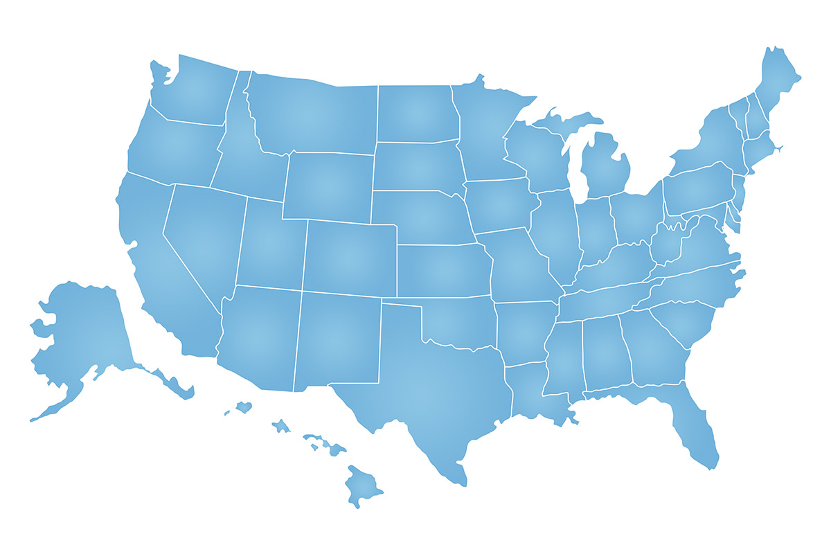 USA map shaded blue (©STOCKR - STOCK.ADOBE.COM)
