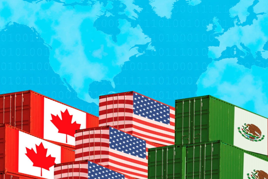 US, Mexico and Canada cargo stacked before map of North America (©STOCKR - STOCK.ADOBE.COM)