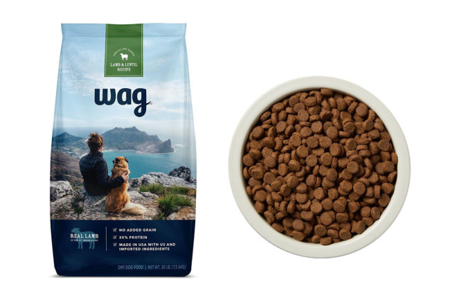 Wags bag front and pet food in bowl