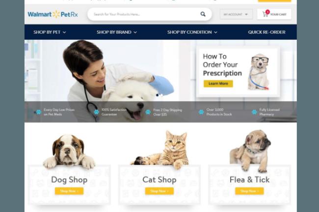 Walmart PetRx website landing page