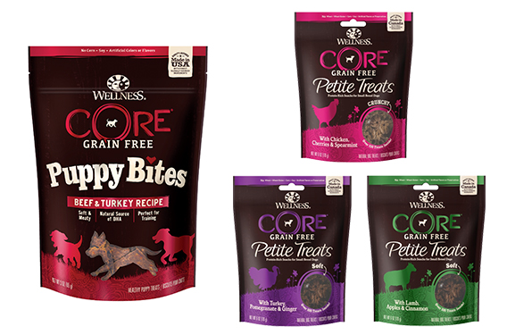 New packaging for Wellness Natural Pet Food's CORE Puppy Bites and CORE Petite Treats