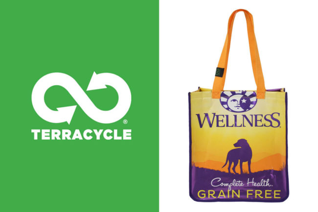 TerraCycle logo, Wellpet recycled packaging