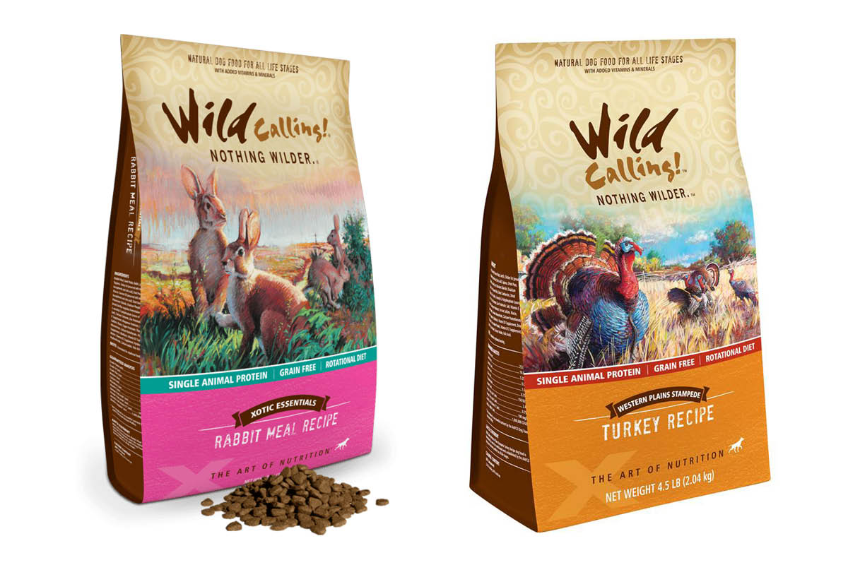 Wild Calling turkey and rabbit packaged pet food