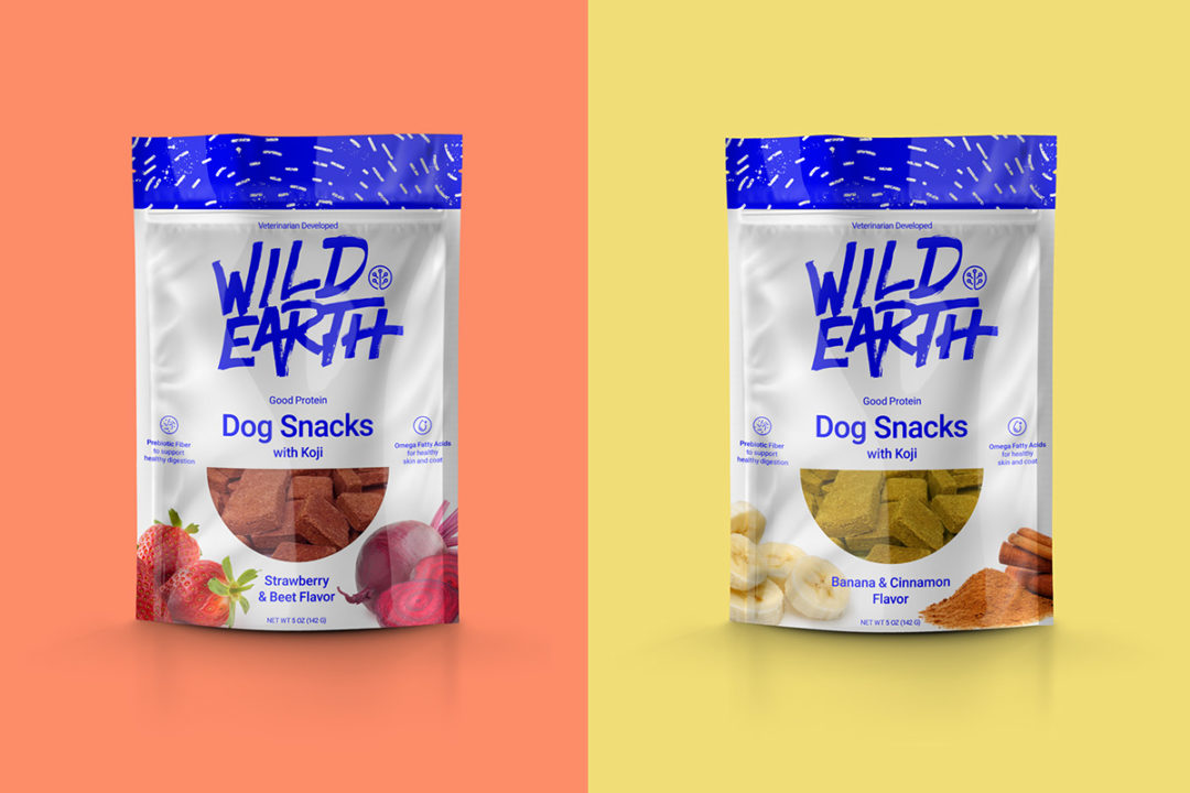 New flavors of Wild Earth cultured koji dog treats: Strawberry-beet and Banana-cinnamon