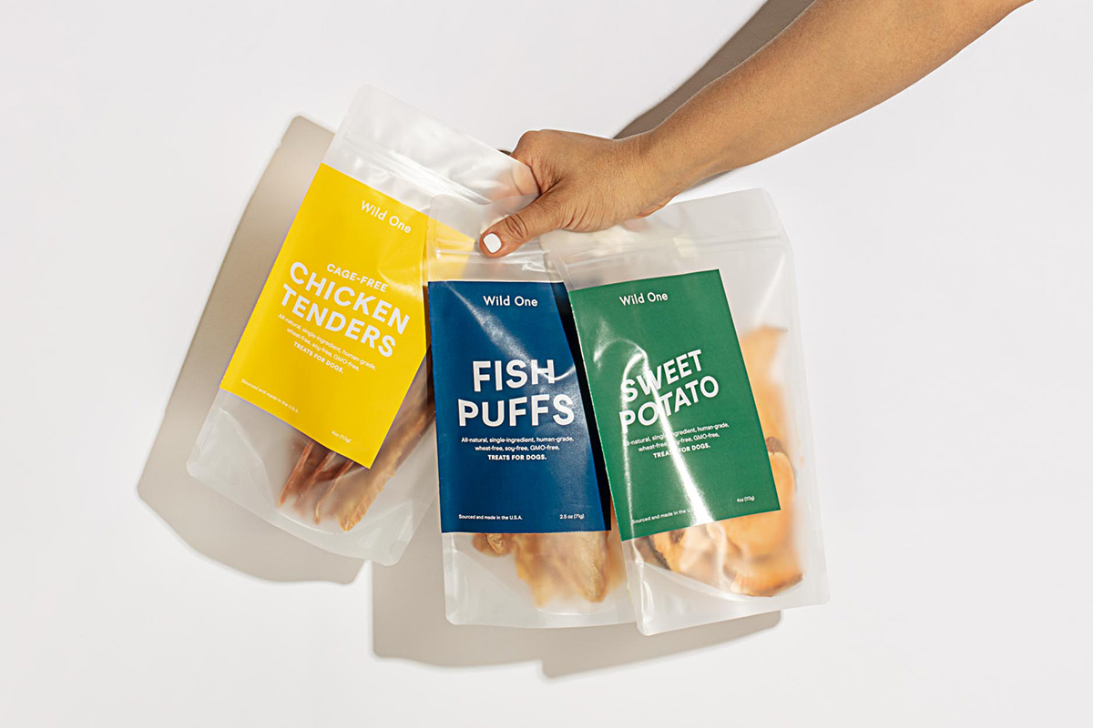 Wild One single-ingredient dog treats: Chicken Tenders, Fish Puffs and Sweet Potatoes