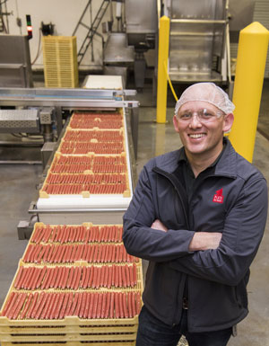 Plato Pet Treats CEO Aaron Merrell in the plant